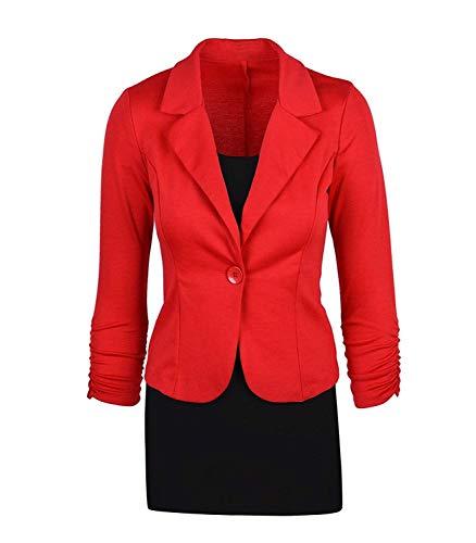Classiche Fashion Cappotto Blazer Tailleur Button Giacca Autunno Casuali Lunga Giacche Da Manica Con Bavero Fit Rot Giaccone Donna Business Slim Monocromo Primaverile PYdIw8wq