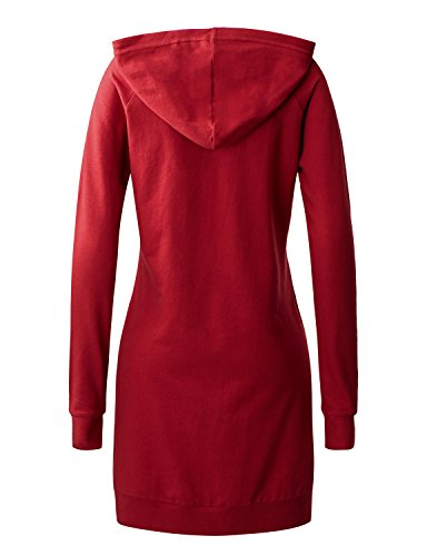 Regna X Love Coated Womens Long Sleeve Raglan Crewneck Hoodie Dress Red S by Regna X (Image #3)