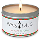 Wax and Oils Soy Wax Aromatherapy Scented Candles (Holiday Kitchen) 8 Ounces. Single