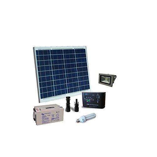 PuntoEnergia Italia - Kit Solaire d'Eclairage Fluo 50W 12V pour Interieur et externe Batterie 22Ah - KIEI-50-B22
