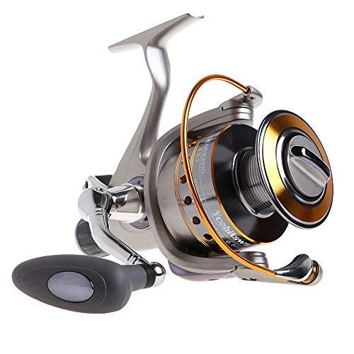 Yoshikawa Baitfeeder Spinning Reel Saltwater Fishing 6000 5.5:1 11 High Power Ball Bearings28Lb Drags Surf Fishing Catfish Carp Reel Left Right Handle Stainless Steel Shaft ()