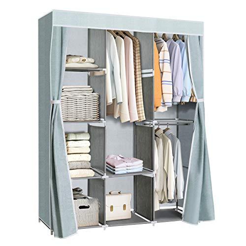 Tangkula Portable Clothes Closet Storage Organizer Fabric Wardrobe Cabinet Clothes Storage Rack