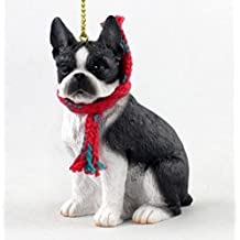 Boston Terrier with Scarf Christmas Ornament (Large 3 inch version) Dog