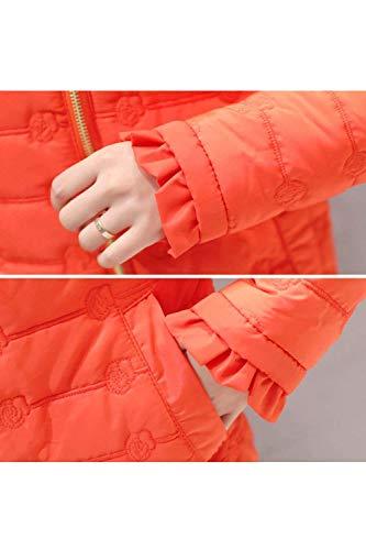 Manica Fashion Lunga Con Autunno Giacche Vintage Chiusura Tasche Piumini Colore Volant Puro Coat Cappotto Trapuntata Donna A Casual Giacca Invernali Arancia Cerniera Abbigliamento OF70wzq