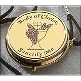 Chalice Body of Christ Sanctify Me Pyx Hospital Communion Church Hosts Gold P
