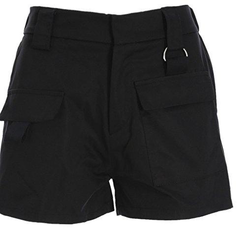 Oudan Femme Shorts de Loisir Vintage Rtro Mini Pantalons Taille Haute avec Poches Noir