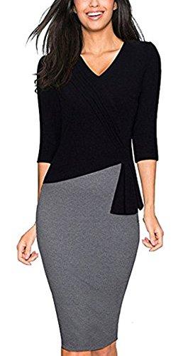 Colyanda Womens Elegant Patchwork 3 4 Sleeve Wear To Work Sheath Business Dress Black L