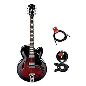 ibanez af75trs hollow body electric guitar kit with clip on guitar tuner and guitars. Black Bedroom Furniture Sets. Home Design Ideas