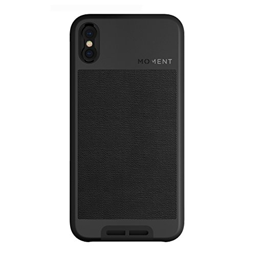 iPhone X Case || Moment Photo Case in Black Canvas - Thin, Protective, Wrist Strap Friendly case for Camera Lovers.