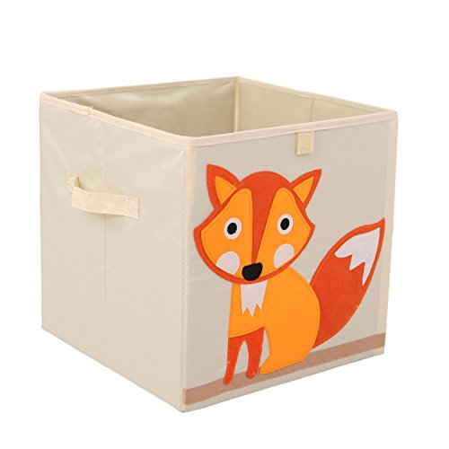 Murtoo Storage Bins Foldable Cube Box, Fabric Toy Storage Cubes For Kids, 13'' L, Fox Fabric Folding Bin