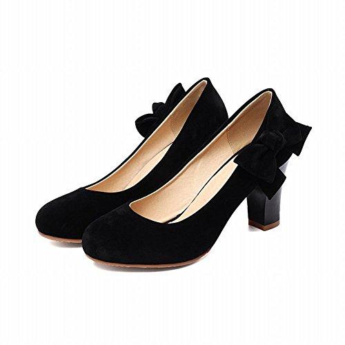 Carolbar Women's Adorable Fashion Bow Block High Heel Court Shoes Black 2YrHeHSN8