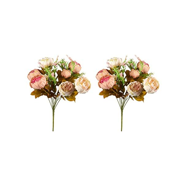Juvale 2 Pack Fake Flowers – Artificial Peonies Flower Bouquet, for Wedding Parties, Valentine's Day, and Interior Decor, Assorted Colors, 18 x 11 x 4 Inches