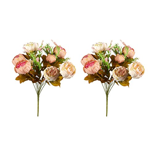 Juvale 2 Pack Fake Flowers - Artificial Peonies Flower Bouquet, for Wedding Parties, Valentine's Day, and Interior Decor, Assorted Colors, 18 x 11 x 4 Inches (Assorted 18 Roses)