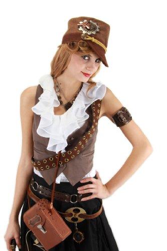 E290713 (Brown) Steampunk Cadet Hat