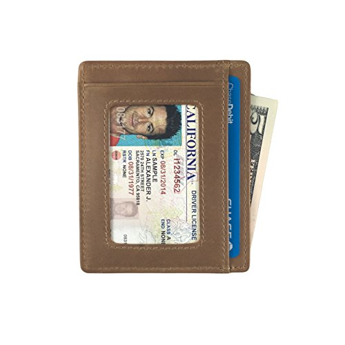 Andar Leather Slim Wallet with ID Window, Minimalist Front Pocket RFID Blocking Card Holder Made of Full Grain Leather (Caramel Tan) ()