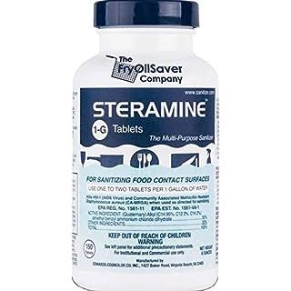 1 x Steramine Quaternary Sanitizing Tablets, Sanitizing Food Contact Surfaces, Kills E-Coli, HIV, Listeria, Model 1-G, 150 Sanitizer Tablets per Bottle, Blue, Pack of 1 Bottle