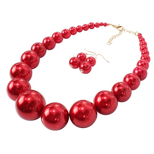 - HaHaGirl Big Faux Pearl Strands Necklace Large Red Beads Fashion Costume Women Jewelry