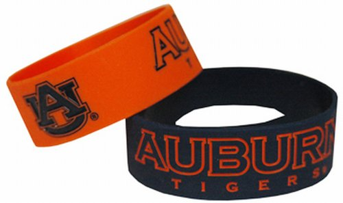 (NCAA Auburn Tigers Wide Band Silicone Bracelet (Pack of 2), Team Color)