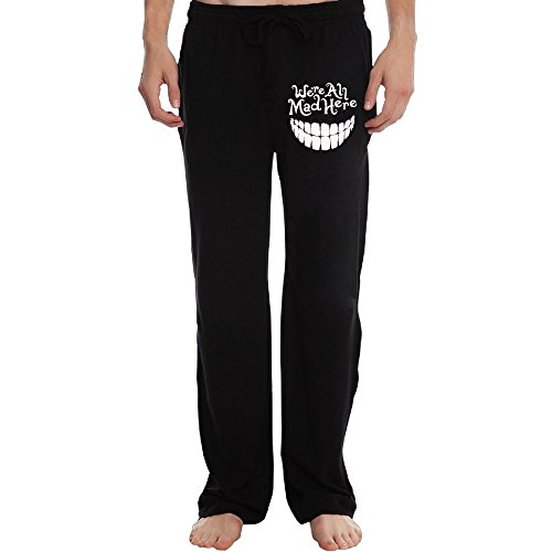 PTR Men's Evil Teeth We're All Mad Here White Sweatpants Color Black Size 3X