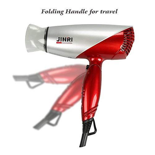 JINRI 1875W Travel Hair Dryer Dual Voltage Blow Dryer Dc Motor Foldable Handle Lightweight Negative Ionic Folding Hair Dryer (Rose Gold) by Jinri (Image #4)