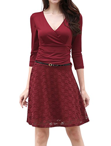 Buy belted floral lace dress - 7