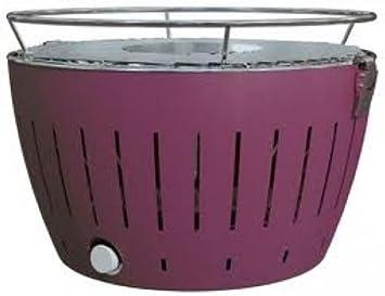 Lotus Grill - Barbacoa de carbón (sin humo, con ventilador turbo para calentar rápidamente), color morado: Amazon.es: Jardín