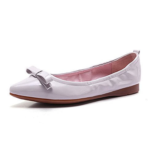 AllhqFashion Womens Pull on No Heel Patent Leather Solid Pointed Closed Toe Flats-Shoes Gray b3EUaIlApR