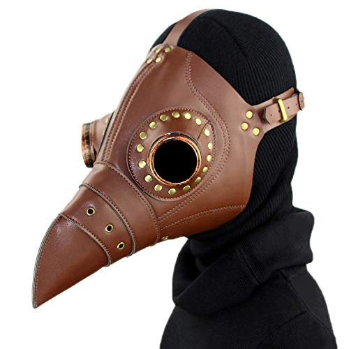Plague Doctor Mask,A&C Hero Bird Beak Mask Long Nose,Steampunk Cosplay PU Halloween Cosplay Costume Mask -
