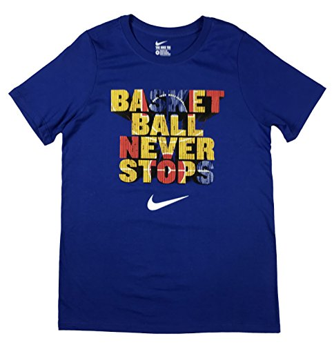 Nike Boys Basketball Never Stops Swoosh Graphic Cotton Shirt (Medium, Blue) (Nike Basketball T Shirts)