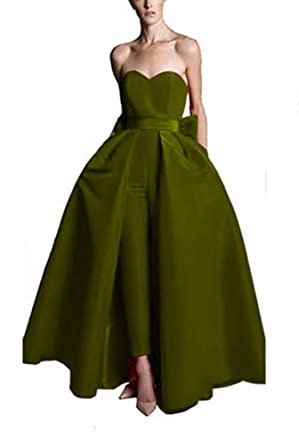 b6b81488c6d3e VeraQueen Women's Sweetheart Jumpsuits Evening Dresses with Detachable  Skirt Prom Gowns Pants (0, Army