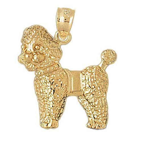 14k Yellow Gold Poodle Dog Pendant, Made in USA ()