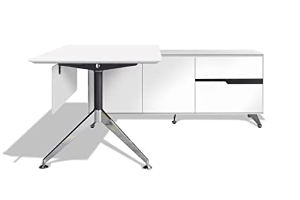 Amazon.com: Modern White Lacquer L-Shaped Executive Desk ...