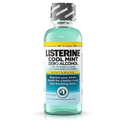 Listerine Cool Mint Zero Alcohol Mouthwash, 3.2 oz Pack of 24