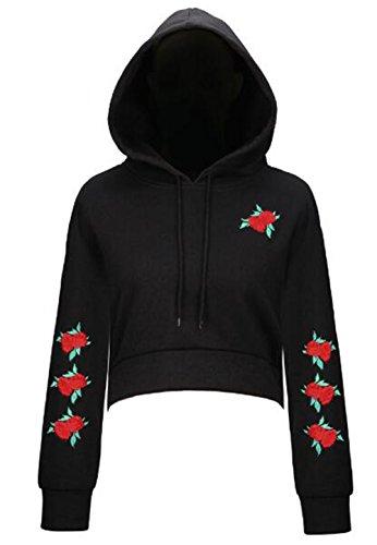 Casual Donna Elegante Lunghe Inverno Breve Sweatshirt Pullover Gogofuture Felpe Cappuccio Autunno Ricamato Maniche Black Hoodie Con Moda UWwqWZ4HBp