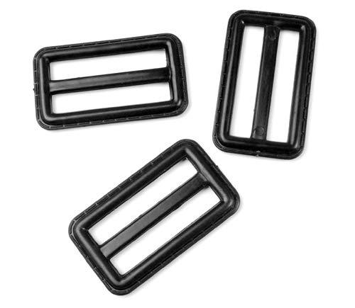 1-1//2 38mm 50 hebillas de pl/ástico negro de tres deslizamiento para mochila al aire libre Webbing size