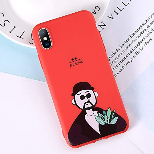 MIIA Fitted Cases - Phone Case for iPhone 6 6s 7 8 Plus X Xr Xs Max Cute Cartoon Letter Deer Smiley Face Soft TPU for iPhone 5 5s Cover - Cart Bag T2