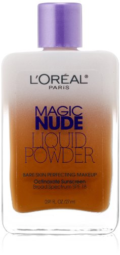 L'Oreal Paris Magic Nude Liquid Powder Bare Skin Perfecting Makeup SPF 18, Soft Sable, 0.91 Ounces