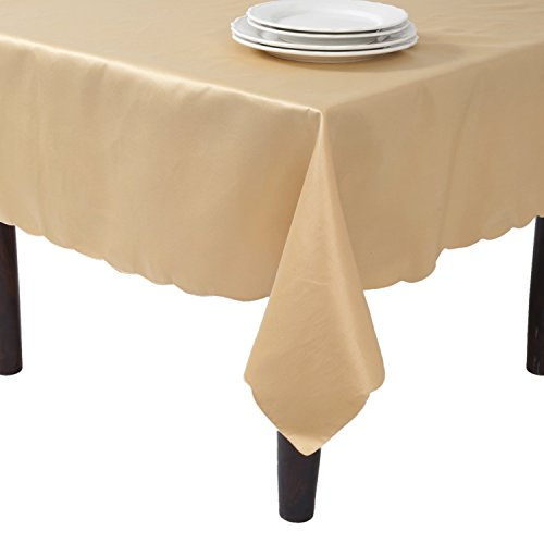 Satin Design Scalloped (SARO LIFESTYLE LN201.GL65180B Tablecloth Liners With Satin Sheen and Scalloped Edge, Gold, 65