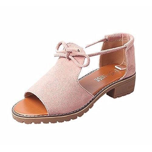 c1cf691da Chic YUCH Estudiante Diario Zapatos con Tacón Áspero Y Fondo Plano EN  Sandalias De Mujer