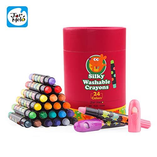 - Jar Melo Washable Crayons -24 Colors; Non Toxic; 3 In 1 Effect (Crayon- Pastel- Watercolor); Slick; Twistables Gel Crayons; Barrel Crayons; Art Tools; Silky Crayons; Jumbo