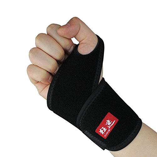Kuangmi Sports Thumb Wrist Brace Basketball Tennis Badminton Sports Wrist Band Wrist Strain Prevention Brace Pack of 2