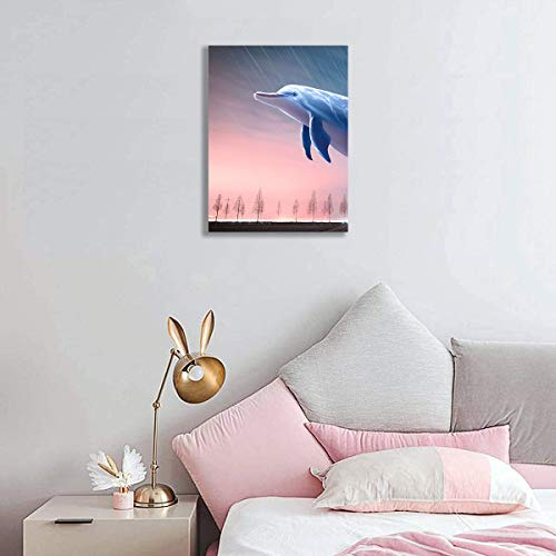 Flying Dolphin Canvas Wall Art for Teen Girls Room Decor 12×16inch Framed Pink Glow Sunset Sky Painting Prints Artwork Pink Series Wall Decor for Woman Room Dreamlike Children Room Decoration Wall Picture