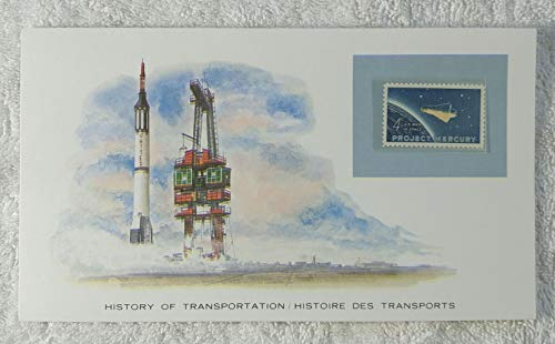 Project Mercury - Postage Stamp (United States, 1962) & Art Panel - The History of Transportation - Franklin Mint (Limited Edition, 1986) - Space Flight, NASA