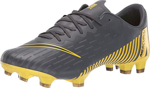 Nike Men's Vapor 12 Pro FG Soccer Cleats (Dark Grey/Black/Yellow) (8.5)