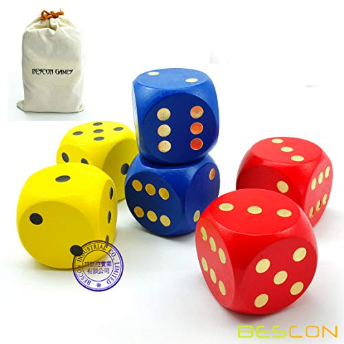 Bescon Big Solid 2 inch Wooden Dice Set 6pcs - Large Gaming Dice Set 2