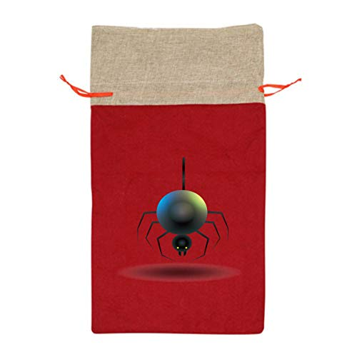 Halloween Fake Spider Bugs 12 Inch Long Tall Candy Treat Merry Christmas Xmas Eve Gift Bags Handles Carrying Toys Goodie Themed Party Holiday Nice Large Burlap for $<!--$30.99-->