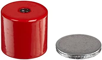 """Cast Alnico 5 Assembly With Keeper, 1-3/8"""" Diameter, 1-3/16"""" Thick, 1/4""""-20 Threaded Mounting Hole (Pack of 1)"""
