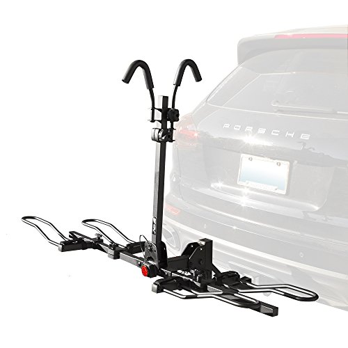 (BV 2-Bike Bicycle Hitch Mount Rack Carrier for Car Truck SUV - Tray Style Smart Tilting Design (2-Bike Carrier) )