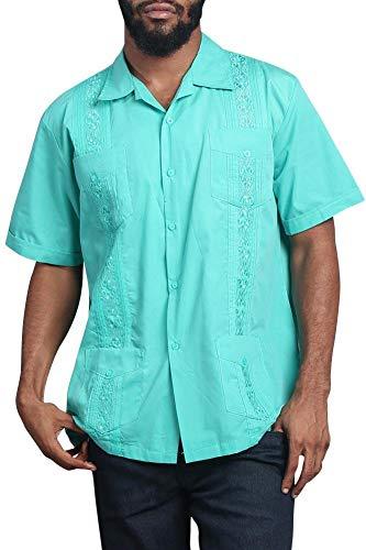 G-Style USA Men's Short Sleeve Cuban Caribbean Tropical Guayabera Cubavera Shirt 2000-1 - Aqua - 3X-Large ()