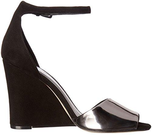 Nine West Women's Roree Suede Dress Sandal Black/Pewter ea1GuaPh
